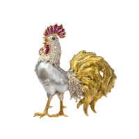 rooster brooch with baroque pearl