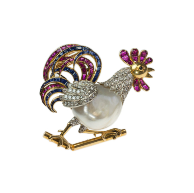 rooster brooch with natural pearl
