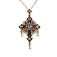 enameled cross pendant