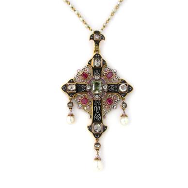 enameled cross pendant