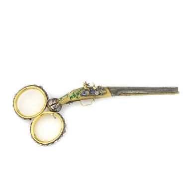 scissors as a flintlockpistol