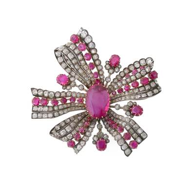ruby bow brooch